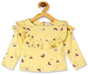 Donuts Rayon Printed Top for Baby Girl - Yellow