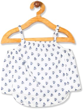 Donuts Viscose Printed Top for Baby Girl - White