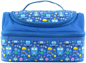 SMILY KIDDOSLunch Bag For Kids/TeenagersDouble Decker Lunch KeeperColourful & Printed Tiffin Bag (Blue)