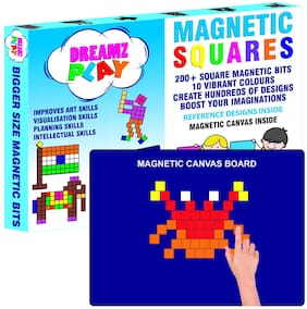 DreamzPlay Squares Magnetic Puzzles includes 200 Colorful Magnets;250 Design in Puzzle book;Magnetic Board and Display Stand- Learning Aid & Educational Toy