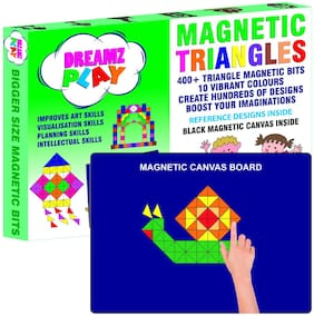 DreamzPlay Triangle Magnetic Puzzles includes 400 Colorful Magnets;250 Design in Puzzle book;Magnetic Board and Display Stand- Learning Aid & Educational Toy