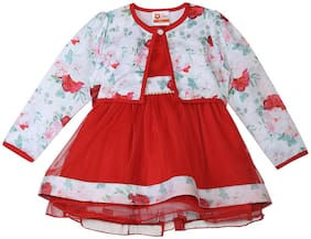 612 League Baby girl Cotton Printed Princess frock - White
