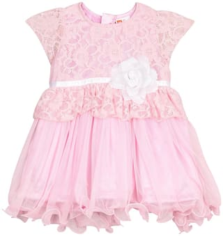 612 League Baby girl Cotton Solid Princess frock - White
