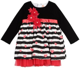 612 League Baby girl Cotton Printed Princess frock - Red