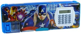 Dual Sided Magnetic Compartment Multipurpose Pencil Box with Dual Sharpener and calculator Marvel Captain America