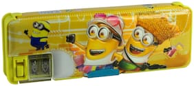 Dual Sided Magnetic Compartment Multipurpose Pencil Box with Dual Sharpener Magnetic Minnions