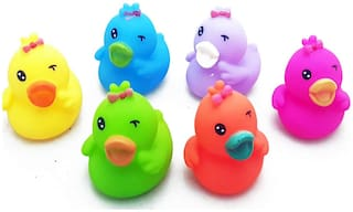 Duck family Chu Chu Bath Toys for Baby Non-Toxic Toddler Set Multi Color-6 PCs