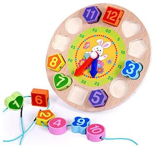 E-Chariot Wooden Digital Clock Beeds with Cartoon Imprints for Kids
