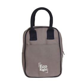 Ecoright Lunch Tote Bag Reusable Cotton Canvas Zipper Ecofriendly Insulated Cooler Washable Men, Women, Kids (Grey) - 0711