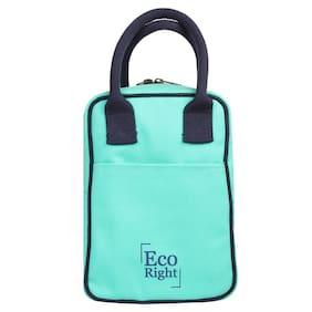Ecoright Lunch Tote Bag Reusable Cotton Canvas Zipper Ecofriendly Insulated Cooler Washable Men, Women, Kids (Aqua) - 0708