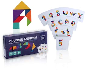 Edu Toys MiDeer Wooden Tangram Puzzle Travel Game Tangrams with 50 Cards (100 Pattern) Including Number Alphabet Animal and Shape Educational Colorful Challenge IQ Toy