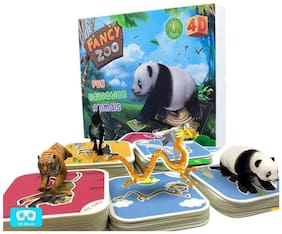 EduToys Fancy Zoo Animal Cards 4D Augmented and Virtual Reality AR VR Educational 68 Flash Cards for Ages 3-10