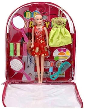eEdgestore Bag Doll With Makeup accessories with packing bag fashion Doll With Dresses Makeup and Accessories Assorted