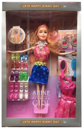 eEdgestore Barbie doll with accessories and dresses