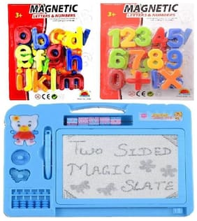 eEdgestore Combo of Magnetic Learning Alphabets and Number (abc &123) with drawing ,writing Double Side Magic Slate