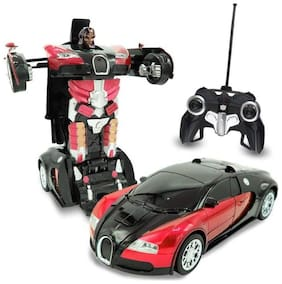 eEdgestore Remote Control Transforming Robot Toy Red Auto bots Remote Control car cum robot Realistic Engine Sounds