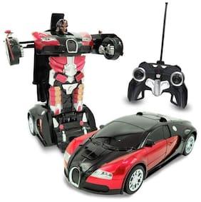 eEdgestore Remote Control Transforming Robot Toy Red Auto bots Remote Control car cum robot Realistic Engine Sounds