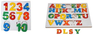 Ehomekart ABC Alphabet and 1 to 10 Numbers - Combo Set - Wooden Jigsaw Puzzle Toy - Learning & Educational Gift for Kids