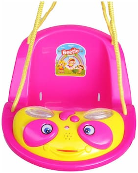 Ehomekart Beetle Musical Baby Swing for Kids- Pink