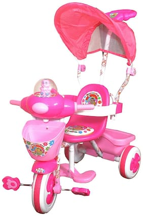 Ehomekart Pink Honeybee Tricycle With Umbrella Hood And Parental Handle For Kids