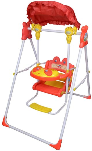 Ehomekart Red Tulip Musical Garden Swing for Kids