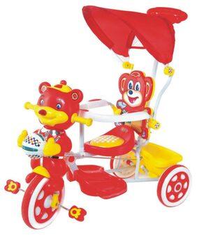 Ehomekart Red Falcon Tricycle With Umbrella Hood And Parental Handle For Kids