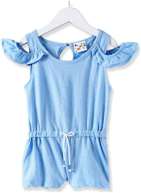 Eimoie Cotton Solid Bodysuit - Blue