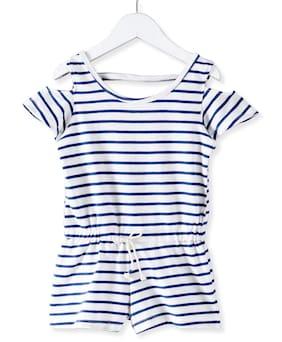 Eimoie Cotton Striped Bodysuit - White