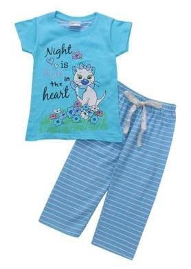 Eimoie Girl Cotton Solid Top & Pyjama Set - Blue