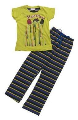 Eimoie Girl Cotton Solid Top & Pyjama Set - Green