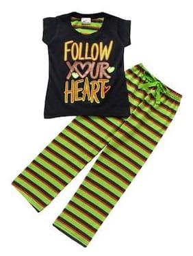 Eimoie Girl Cotton Solid Top & Pyjama Set - Black