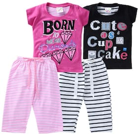 6d756d17f81 EIMOIE Girls Printed 3 4th Length Nightsuit Set (Pack Of 2)
