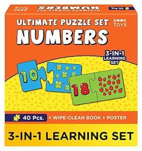 Einstein Box Book Toys- Ultimate Number Puzzle Set For Kids 3;4;& 5 Year Old Boys & Girls | Number Puzzles | Comes With Wipe Clean Activity Book And A Poster