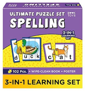 Einstein Box Book Toys- Jigsaw Puzzle Set of Words & Spelling for Boys & Girls for Ages 5 Years and Above | Educational Toys for Kids | Kids Learning Toys | with Wipe Clean Activity Book and a Poster