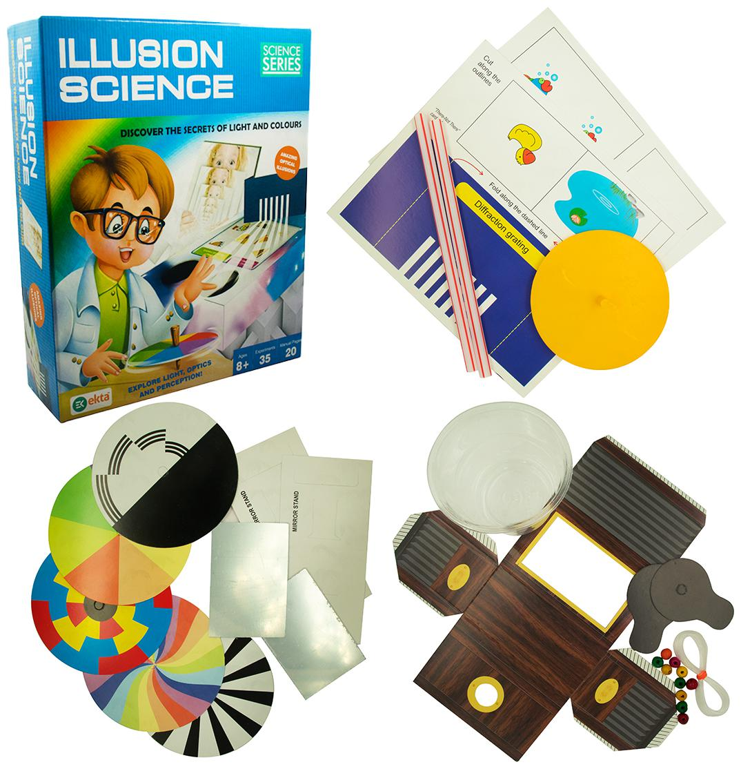 Ekta illusion Science Kit with 35 Experiments Play Learning and Educational DIY Kit for Kids 8 Years above
