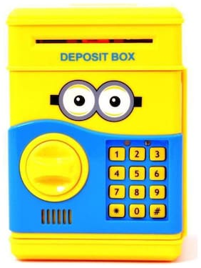 Electronic Piggy Bank ATM Password Lock Money Safe for Coins and Notes Collecting - Minion Character Coin Bank