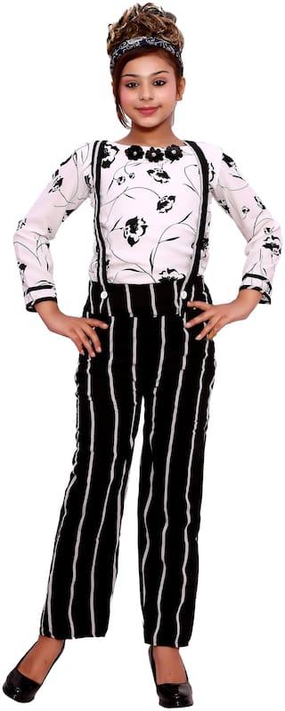 Elendra jeans Girl Georgette Top & Bottom Set - Black & White