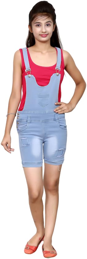 Elendra jeans Denim Self design Dungaree For Girl - Blue