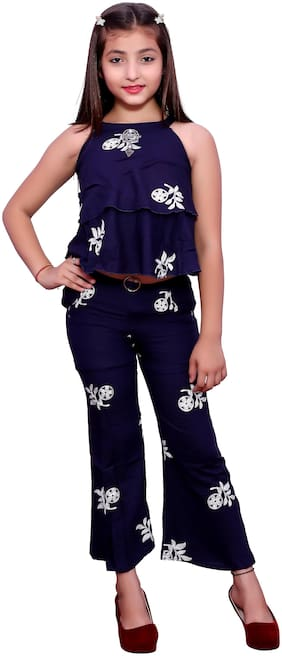 Elendra jeans Girl Rayon Top & Bottom Set - Blue