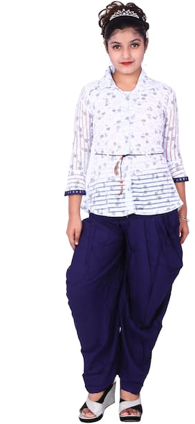 Elendra jeans Girl Rayon Top & Bottom Set - Blue & White