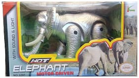 Shanaya Battery Operated Elephant Toy that walks, swings Trunk & Tail with Light & actual sound of an Elephant (ASSORTED)