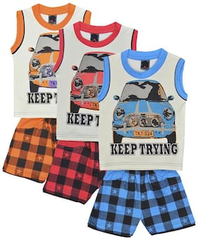 ELK Kids Boys Sleeveless CottonMulticolor T-Shirt With Bottom Combo Set