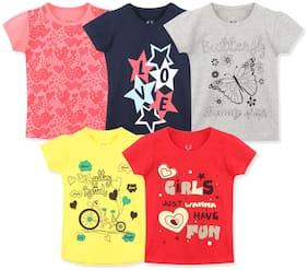 ELK Girl Cotton Printed T shirt - Multi