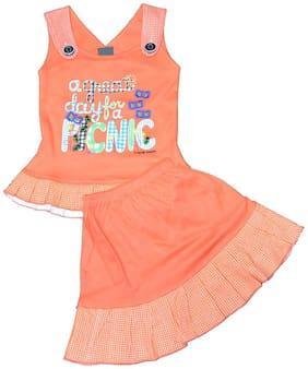 ELK Girl Cotton Top & Bottom Set - Orange