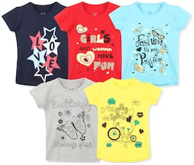 ELK Girl Cotton Printed T shirt - Multi