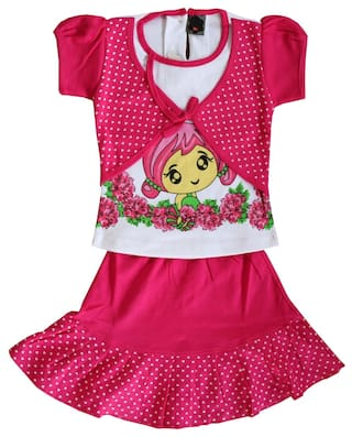 64cc1afb9 Buy ELK Girl Cotton Printed Frock - Red Online at Low Prices in ...