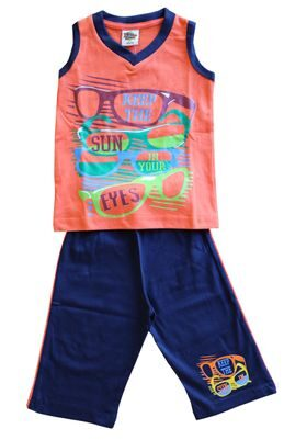 ELK Little Master Boy's Orange Sleeveless Printed 100% Cotton Tshirt