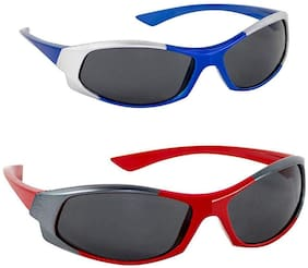 Emartos Kidz Wrap Around Sunglasses Combo of 2 (UV Protection) (Red,Blue)