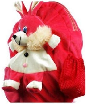 Emartos Top selling Rabbit Cute Teddy Soft Toy School Bag for kids (Pink) for 3+ year kid