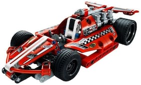 Emob 158 PCS Dazzling Red Racing Car King Steerer Block Set with Pull Back Technic  (Red)